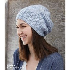 Skill Level: Easy Simple texture and soft yarn is all you need! This classic hat is knit in Patons Alpaca Blend. Free Pattern More Patterns Like This! Knit Slouchy Hat Pattern, Easy Knit Hat, Knitted Hats, Knitted Headband, Aran Knitting Patterns, Knit Patterns, Free Knitting, Summer Knitting, How To Purl Knit