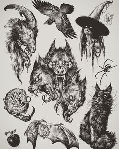 Halloween Tattoos for People who Live to Explo Flash Art Tattoos, Body Art Tattoos, Sleeve Tattoos, Great Tattoos, Tattoo Sketches, Tattoo Drawings, Art Sketches, Tattoo Ink, Tattoo Illustrations