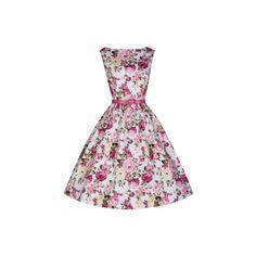 Lindy Bop Audrey Pink Rose Retro šaty ve stylu 50. let. Romantické šaty ve střihu Audrey, vhodné na svatby - pro svědkyně, družičky, na zahradní slavnosti, letní párty. Krásný květinový vzor, příjemný strečový materiál (97% bavlna, 3% elastan), dobře padnoucí střih s lodičkovým výstřihem, vzadu na zip, součástí pásek v barvě pink. Pro bohatší objem sukně doporučujeme doplnit spodničkou z naší nabídky.