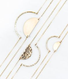 Gold Half Circle Necklace in 14K Gold Fill or Sterling Silver - Handmade by GLDN