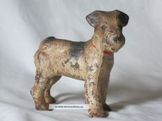 "Hubley Cast Iron Fox Terrier Doorstop Dog Vintage 5 "" Tall Xx Antique"