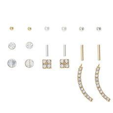 Silver and Gold Funky Rhinestone Stud Earrings