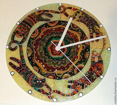 """Купить Часы """"Хвост за хвост"""" - коричневый, часы настенные, часы настенные с росписью"""