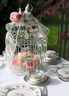 Floral birdcage + beautiful china