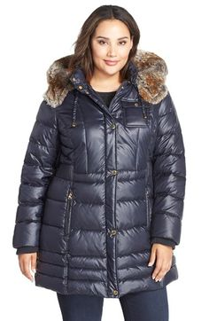 Laundry by Design Faux Fur Trim Hooded Quilted Coat (Plus Size)
