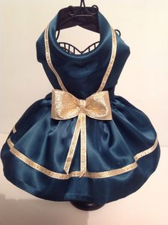 Dark Green Satin with Gold Ribbon Trim Dog Dress for small