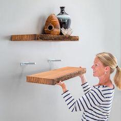 Free Woodworking Plans & DIY Wood Project Ideas Floating Shelf Hardware, Wooden Floating Shelves, Wood Shelves, Diy Wood Projects, Home Projects, Blind Shelf Supports, Küchen In U Form, Diy Wanddekorationen, Shelf Design
