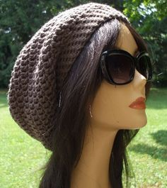 Awesome Crochet Slouchy Hat...Celebrity Style... Unisex Men Women Beret Tam....Totally Taupe....Ready to Ship