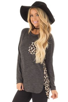 862f1d35f1bfb6 Lime Lush Boutique - Charcoal Top with Mocha Leopard Print Contrast