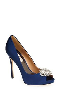 Badgley Mischka 'Jeannie' Crystal Trim Open Toe Pump (Women) available at womens pumps Navy Blue High Heels, Navy Heels, Blue Pumps, Fashion Models, Fashion Shoes, Peep Toes, Badgley Mischka Shoes Wedding, Navy Wedding Shoes Heels, Bride Shoes