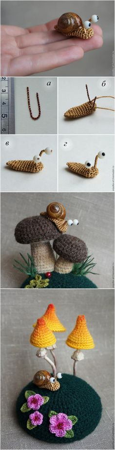 Crocheted Snails and MushroomsCute right? The only tricky thing...