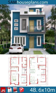 House Plans with 4 Rooms – Sam House Plans – House Design Ideas 2bhk House Plan, Model House Plan, Simple House Plans, House Layout Plans, Duplex House Plans, Dream House Plans, House Layouts, Two Story House Design, 2 Storey House Design