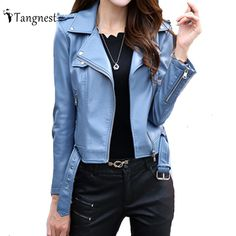 Promo offer US $39.99  TANGNEST Slim Casual Solid Color Size M-3XL Women Jackets 2017 Spring Autumn European Zipper Motor Outwear WWP191  . Search here: Womens Black Leather Jacket With Fur Collar.