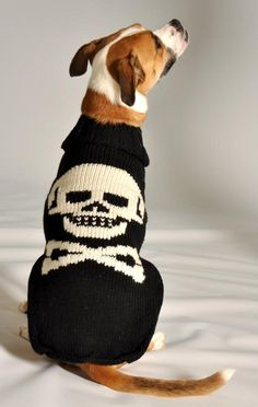 Chilly Dog Cable Knit Dog Sweater Black Skull - Big Dog Sweaters Wool