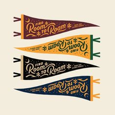 Room to Roam Pennant by Spoon and Spear Graphic Design Letters, Design Logo, Badge Design, Graphic Design Typography, Lettering Design, Graphic Design Illustration, Brochure Design, Print Design, Typography Inspiration