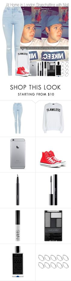 """At Home in London Snapchatting with Niall"" by elise-22 ❤ liked on Polyvore featuring Topshop, Private Party, Converse, MAC Cosmetics, shu uemura, NARS Cosmetics, Wet n Wild, Agonist and ASOS"