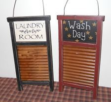 New Country Primitive Vintage Little Washboard Laundry Room Sign Set of 2