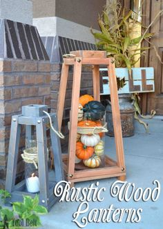Add a little rustic charm to your front porch or home decor with these easy rustic wood lanterns. Free plans
