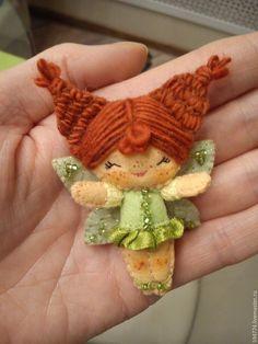 """Купить брошь из фетра """"Бабочка"""" - мятный, бабочка, куколка текстильная, брошь ручной работы"""