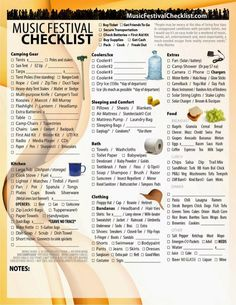 Music Festival Checklist: Music Festival Checklist - The Ultimate Survival Tool (Festival Camping Hacks) Camping Snacks, Camping With Kids, Go Camping, Camping Ideas, Camping Packing, Packing Lists, Camping Chairs, Women Camping, Winter Camping