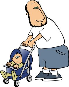 Clipart Image of a Dad Pushing a Baby in a Stroller