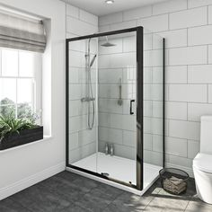 Black 6mm sliding shower enclosure 1200 x 800