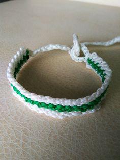 White and green friendship handmade   bracelet