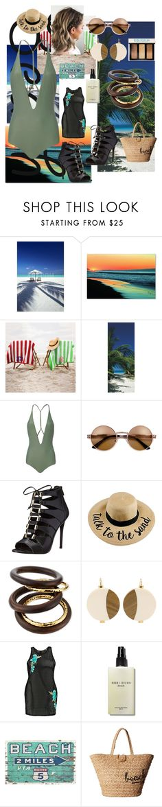 """""""Beach Away"""" by joy-chiquita-godboldo ❤ liked on Polyvore featuring Indian Ocean, Trademark Fine Art, Brewster Home Fashions, Mikoh, Enzo Angiolini, NEST Jewelry, Marni, Boohoo, Bobbi Brown Cosmetics and Hat Attack"""