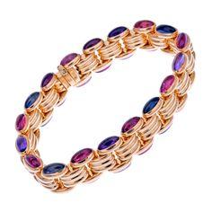 BULGARI Tourmaline Yellow Gold Link Bracelet