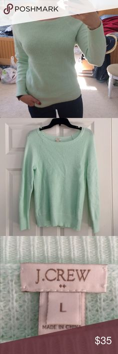 *Just Listed!* J. Crew Waffle Crewneck Sweater This is a gorgeous and cozy J. Crew sweater in a lovely light mint green. Perfect for jeans or dressed up, the waffle texture on the torso provides just enough detail to make this sweater unique and stylish. This in-demand sweater is currently sold out online! Technically a size L, but people who normally wear S or M in sweaters would enjoy this as well! EUC J. Crew Sweaters Crew & Scoop Necks