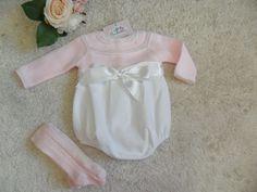 PELELE ROSA CON LAZO BLANCO | Pardalets - Ropa para tu bebe