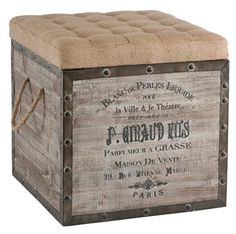 French Country Vintage Crate Burlap Cushion Cube Storage Ottoman - Ottomans And Cubes - Kathy Kuo Home Crate Ottoman, Diy Ottoman, Ottoman Storage, Tufted Ottoman, Ottoman Ideas, Burlap Ottoman, Ottoman Design, Ottoman Inspiration, Pallet Ottoman