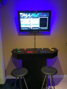 My Arcade (OC) - Imgur Retropie Arcade, Arcade Table, Arcade Room, Arcade Stick, Arcade Games, Arcade Cabinet Plans, Pedestal, Borne Arcade, Office Break Room
