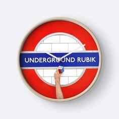 """Underground Rubik"" Clocks by josemanuelerre | Redbubble"