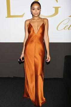Ashley Madekwe Evening Dress - Ashley Madekwe looked simply radiant in a rust-colored silk slip dress by Wes Gordon at the amfAR Milano Gala. Ashley Madekwe, Fashion Mode, Star Fashion, Dress Fashion, Korean Fashion, Red Slip Dress, Long Slip Dress, Satin Dresses, Fashion Clothes