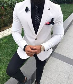 White Wedding Suit for Men Tuxedo Two Pieces 2019 (jacket+pa.- White Wedding Suit for Men Tuxedo Two Pieces 2019 (jacket+pants) – White Wedding Suit for Men Tuxedo Two Pieces 2019 (jacket+pants) – - White Wedding Suits For Men, Wedding Men, Wedding White, Prom Suits For Guys, Mens White Suit, White Mens Blazer, Black And White Suit, White Prom Tux, Wedding Tuxedos