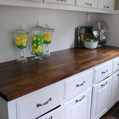 Charming Kitchen Decoration Using Ikea Butcher Block Kitchen Counter Tops : Charming Picture Of Small Kitchen Design Using White Wood Kitchen Wall Panel Including Dark Brown Ikea Butcher Block Kitchen Counter Tops And White Wood Kitchen Cabinet Kitchen Redo, Rustic Kitchen, Country Kitchen, New Kitchen, Kitchen Cabinets, Kitchen Ideas, White Cabinets, Kitchen Designs, Kitchen Hacks