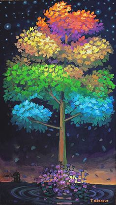 "This breathtaking tree illustrates the entire year. The warm season is at the peak of the tree. Crawling down tree leaves change to cool winter as leaves drop off. Acrylic on wood and framed 90""x54""."