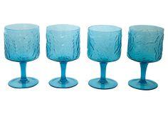 Teal Leaf Water Goblets, S/4 on OneKingsLane.com