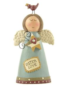 This 'Sister Love' Angel & Bird Figurine by Blossom Bucket is perfect! Love Is Sweet, Love S, Decorative Objects, Decorative Plates, Biscuit, Garden Items, Sister Love, Huckleberry, Miniature Fairy Gardens