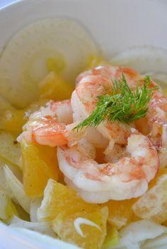 la mamma pasticciona: insalata di gamberi, finocchi e arance allo zenzero