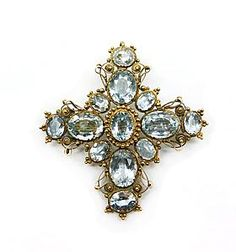 19th century aquamarine and gold cross brooch-pendant, c.1830 -