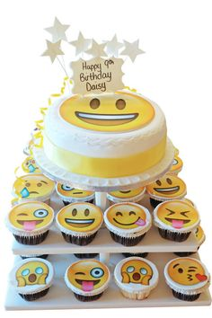 Offering a selection of cupcakes with a fabulous party cake, our emoji cake tower will be perfect for any party you're hosting. Emoji Cake, Cake Tower, Cake Tasting, Chocolate Fudge, Savoury Cake, Unique Recipes, Party Cakes, Cupcake Cakes, Fondant Cakes