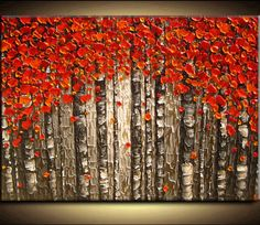 Large Ready Original Oil Impasto Painting Sculpture Texture Modern Red Orange Yellow Gray Trees Birch Palette Knife Painting by Je Hlobik