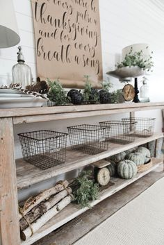 Vintage French Soul ~ DIY Farmhouse Dining Room buffet - Could be a great TV console, sofa table, entryway table, kitchen island, & so much more! Great tutorial and farmhouse style decor inspiration! Foyer Decorating, Farmhouse Style Decorating, Farmhouse Decor, Decorating Ideas, Vintage Farmhouse, Farmhouse Buffet, Modern Farmhouse, Tv Console Decorating, Farmhouse Baskets