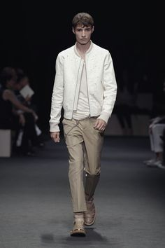 Neil Barret ss12 - black speckled white blouson, white t-shirt, khaki pants, khaki sandals