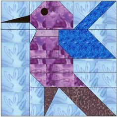 free hummingbird quilt patterns | ALL STITCHES - HUMMINGBIRD PAPER PEICING QUILT BLOCK PATTERN .PDF-062A