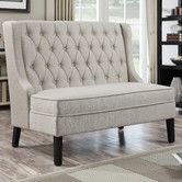 Might be too high backed.  Found it at Wayfair - Upholstered Banquette in Oatmeal