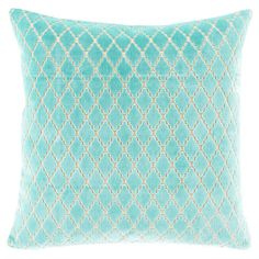 Featuring a delicately textured trellis design, this delightful cotton pillow adds a pop of pattern to your living room sofa or guest bedding.