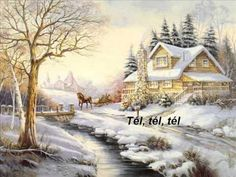 Reflections at Twilight by Carl Valente ~ country winter scene ~ houses ~ stream ~ horse-drawn sleigh Cabin Christmas, Christmas Scenes, Christmas Art, Winter Christmas, Thomas Kinkade, Winter Szenen, Winter Painting, Snow Scenes, Christmas Pictures
